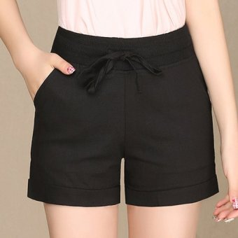 Ladies Leisure Candy Color Elastic Waist Linen Shorts (Black) (Intl)