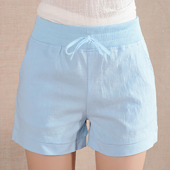 Ladies Leisure Candy Color Elastic Waist Linen Shorts (Blue) (Intl)