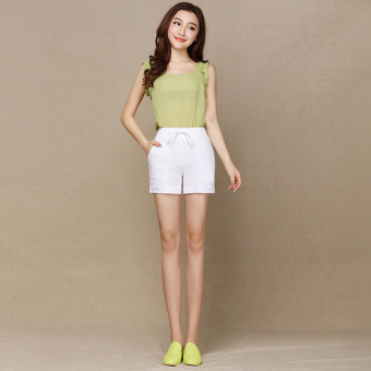 Ladies Leisure Candy Color Elastic Waist Linen Shorts (White)(Intl) - 4