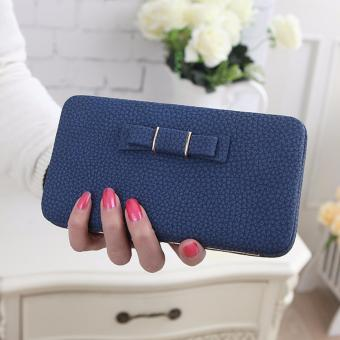 Ladies Long Bowknot Flap Bag PU Leather Wallet Phone BoxClutch Bag Women High Capacity Handbag Cute Coins PurseMultiple Card Holder (Blue) - intl