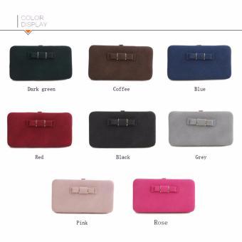 Ladies Long Bowknot Flap Bag PU Leather Wallet Phone BoxClutch Bag Women High Capacity Handbag Cute Coins PurseMultiple Card Holder (Blue) - intl - 5