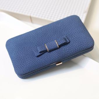 Ladies Long Bowknot Flap Bag PU Leather Wallet Phone BoxClutch Bag Women High Capacity Handbag Cute Coins PurseMultiple Card Holder (Blue) - intl - 3