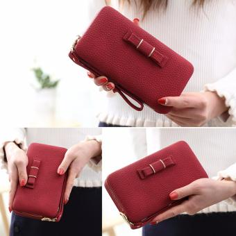 Ladies Long Bowknot Flap Bag PU Leather Wallet Phone Box Clutch Bag Women High Capacity Handbag Cute Coins Purse Multiple Card Holder (Red) - intl