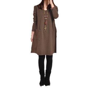 Ladies Long Sleeve Pockets V-Neck  Loose Casual Dress