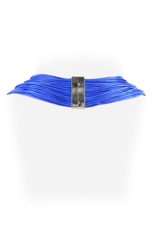 Ladies Multi Layered Magnetic-lock Nylon Necklace (Blue)