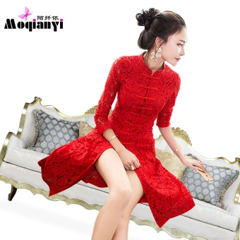 Ladies retro autumn and dress long paragraph dress (Red color + gift bottoming pants)