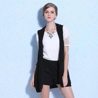 Ladies Spring Lapel V neck Knee Above Cardigan Style ChiffonWaistvest Tops Vest (Black) - intl - 3