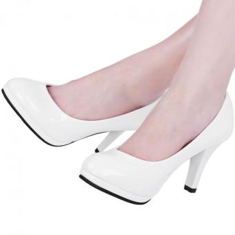 Ladies Thick High Heel Shoes Patent Leather Shallow Mouth Round Toe(White) (Intl)