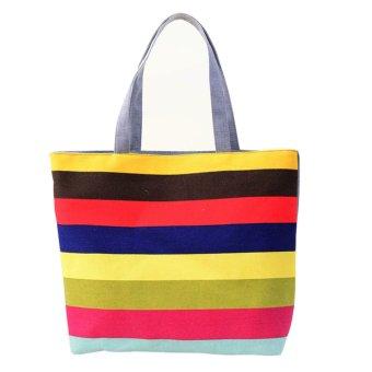 Lady Fine lines Shopping Handbag Shoulder Canvas Bag Tote Purse Red - Intl