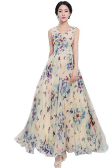 LALANG Butterfly Print Long Maxi Dress Blue