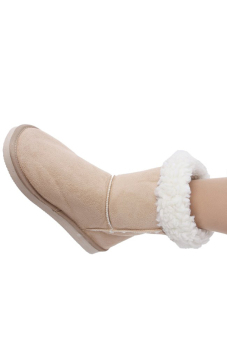 LALANG Chic Ladies Womens Rubber Sole Snow Ankle Boots Winter Warm Flat Casual Shoes Beige - 5