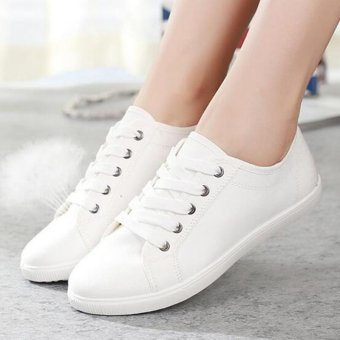 LALANG Fashion White Shoes New Lace-Up Canvas Casual Shoes Walking Shoes (White)