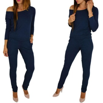 LALANG Long Sleeve Off Shoulder Jumpsuits Rompers (Dark Blue) - intl Price Philippines
