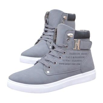 LALANG Men High Top Lace Ankle Boots Casual Warm Canvas Shoes40(Grey) - intl - 4