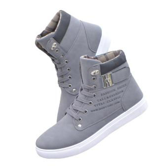 LALANG Men High Top Lace Ankle Boots Casual Warm Canvas Shoes40(Grey) - intl - 2