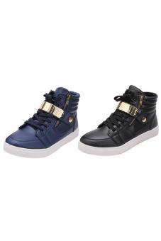 LALANG Men PU Leather Sneakers High Cut Sports Shoes Black - 3