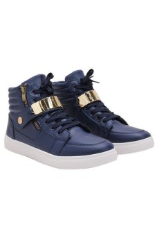 LALANG Men PU Leather Sneakers High Cut Sports Shoes Blue Price Philippines