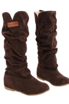 LALANG New Fashion Casual Flat Shoes Sweet Boot Stylish Mid-calfBoots Brown - 3
