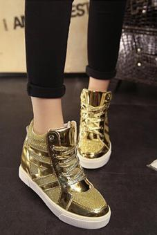 LALANG New Flat Shiny Lace Women Shoes Casual Increased Shoes Gold