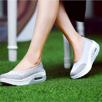 LALANG New Style Fashion Women's Shake Shoes Casual Fitness Shoes (Grey) - intl