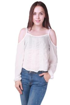 LALANG Sexy Loose Casual Shirt Women Off Shoulder Chiffon BlouseWhite Price Philippines