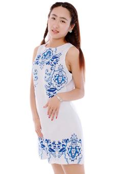 LALANG Sleeveless Chiffon Dress (White) - picture 2