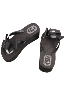 LALANG Wedge Flip Flops Black - picture 2