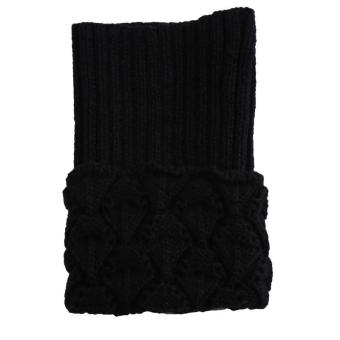 LALANG Women Crochet Knitted Leg Warmers Shell Design Boot CuffsToppers Winter Short Liner Boot Socks (Black) Price Philippines