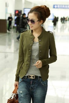 LALANG Women Double-Breasted Short Coat Jacket Army Green Price Philippines