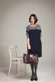 LALANG Women Korean Stitching Loose Dress Bottoming Shirt Navy - picture 3