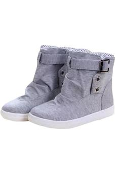 LALANG Women Lace-Up Ankle Boots Flat Canvas Shoes Sneakers Grey