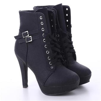LALANG Women PU Leather Thin High Heel Short Boots (Black) - intl - 4