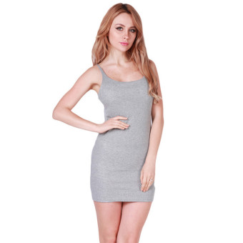 LALANG Women Sexy Suspenders Skirts Pencil Dress Grey