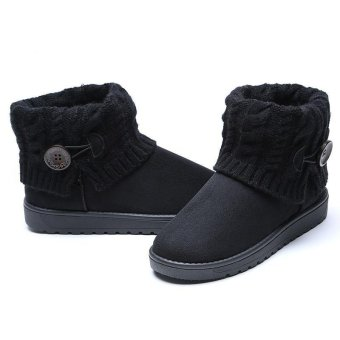 LALANG Women Snow Boot Ankle Short Boots Winter Warm Platform ShoesBlack - 3