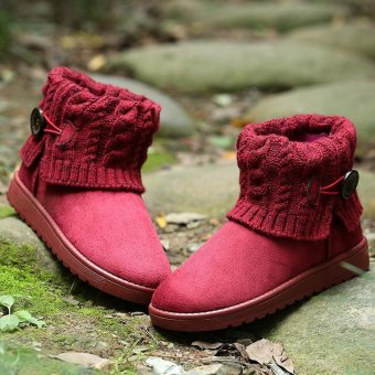 LALANG Women Snow Boot Ankle Short Boots Winter Warm Platform ShoesWine red - 3