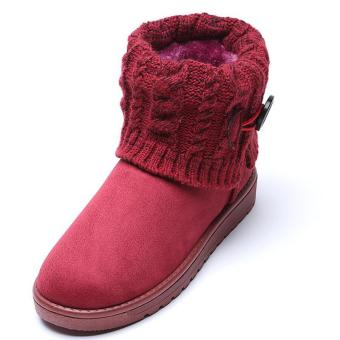 LALANG Women Snow Boot Ankle Short Boots Winter Warm Platform ShoesWine red - 2