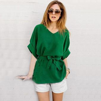 LALANG Women Vintage Bat Sleeve Blouses Loose Shirt Tops (Green) -intl - 2