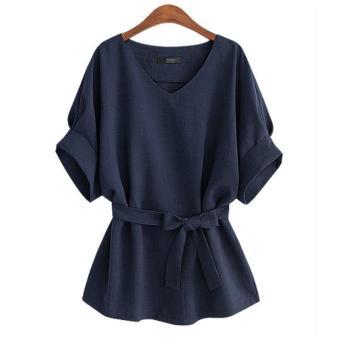 LALANG Women Vintage Bat Sleeve Blouses Loose Shirt Tops (Navy Blue) - intl - 2