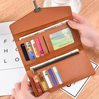 Large Capacity Leather Clutch Checkbook Wallet Card Holder Purse For Women BW - intl