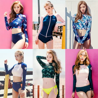 Large fishing beach Slimming effect long-sleeved sunscreen swimming clothing swimsuit (Section 2)