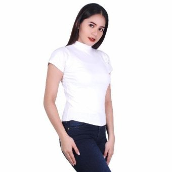 Latest Trend Plain Turtle Neck Blouse (White) Price Philippines