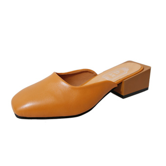 Lazy Korean-style square head semi-high heeled women's shoes slipper shoes (Light Brown)