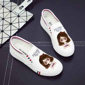 Lazy Street a pedal canvas shoes (Beauty three no. (white))