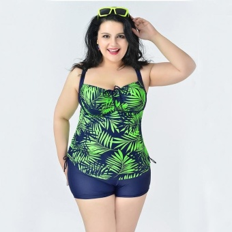 Leaf Printed Swimwear Two Piece Swimsuit for Women Plus SizeBodysuit Bathing Suit 2XL-6XL(Green) - intl