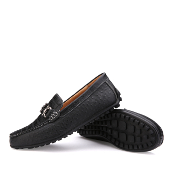 Leather Casual Car Loafers – Black - picture 2