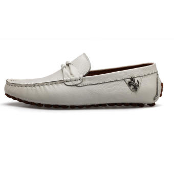 Leather Casual Driving Loafers - Beige - picture 2