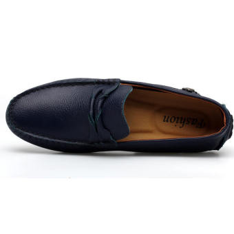 Leather Casual Driving Loafers - Blue - picture 3