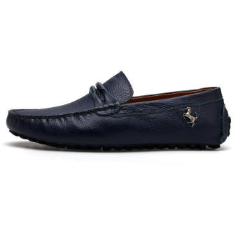 Leather Casual Driving Loafers - Blue - picture 2