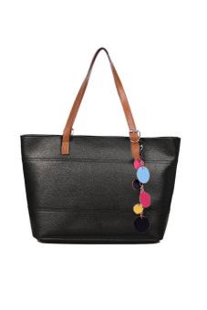 Leather Cute Shoulder Tote Bag Handbag (Black)