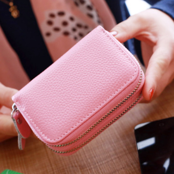 Leather double zip organ card holder (Pink)